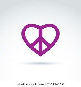 Antiwar and love vector icons, loving heart shape sign with peace symbol from 60th. Harmony relationship illustration isolated on white background.