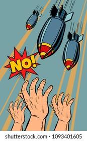 Antiwar protest, stop bomb war. Pop art retro vector illustration vintage kitsch drawing