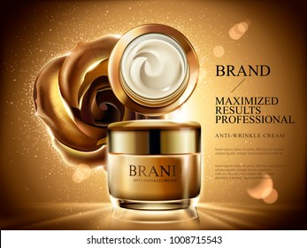 Anti-wrinkle cream ads, cosmetic cream jar mockup with burst light, glitters and golden rose and background in 3d illustration