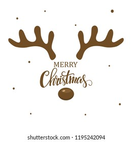 Antler christmas card template design on white background