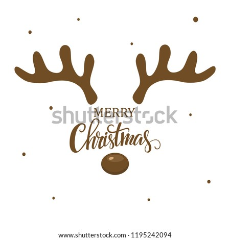 antler christmas card template design on stock vector royalty free