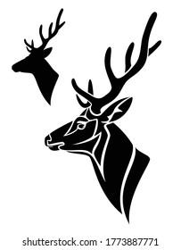 Anthelfer-Hirschprofil Kopf - Seitenansicht Schwarz-Weiß-Vektorgrafik des Buchs mit großen Hörnern
