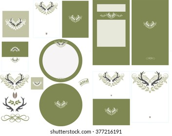 Antler love graphic in fern invitation set 2 has graphic antler design with contrasting color. This set has a pocket card invitation and standard formats RSVP card, and round program