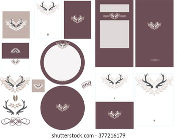 Antler love graphic in wine invitation set 2 has graphic antler design with contrasting color. This set has a pocket card invitation and standard formats RSVP card, and round program