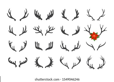 Antler vector set . Hand drawn silhouettes of hunting trophies illustration .