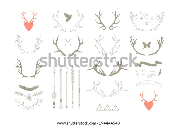 Antlers, arrows, ribbons. Decor elements. Isolated.Vector