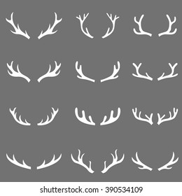 antlers black set, deer vector illustration, graphic design, hand drawn