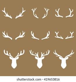 antlers brown set, deer vector illustration, graphic design