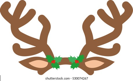 Antlers of a reindeer on white background. Deer isolated illustration. Element Christmas. For Scrapbooking.