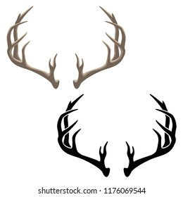 Antlers Vector Illustration in both Color and Black Line Art