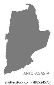 Antofagasta Chile Map in grey