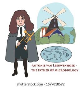 Antonie van Leeuwenhoek, Dutch scientist, vector cartoon