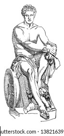 It is an Antonine Roman marble sculpture of Mars known as The Ludovisi Ares. It is associated with Scopas or Lysippus thus the Roman god of was receives his Greek name, Ares, vintage line drawing