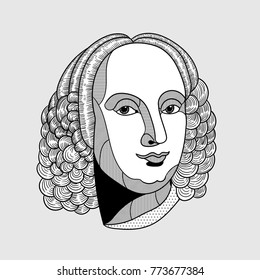 Antonio Lucio Vivaldi. Vector illustration hand drawn.