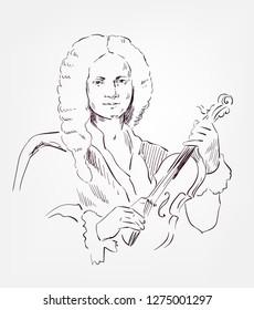 Antonio Vivaldi vector sketch portrait famous