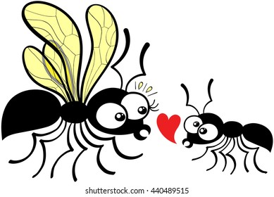 Ants composed by a queen and a worker which dares to declare its love by showing a red heart while feeling shy and nervous