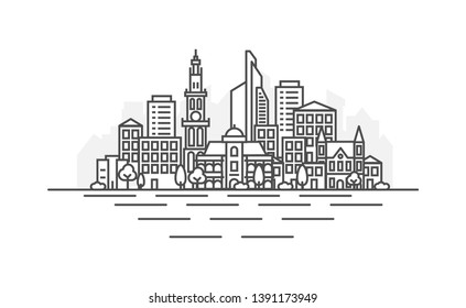 Antwerp, Belgium architecture line skyline illustration. Linear vector cityscape with famous landmarks, city sights, design icons. Landscape with editable strokes.