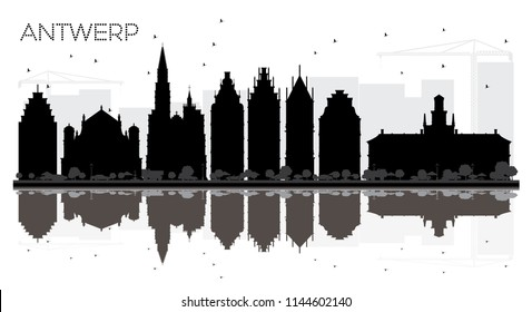 Antwerp Belgium City skyline black and white silhouette with Reflections. Vector illustration. Simple flat concept for tourism presentation, banner, placard or web. Antwerp Cityscape with landmarks.