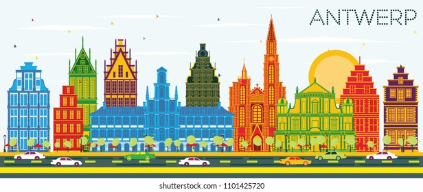 Antwerp Belgium City Skyline with Color Buildings and Blue Sky. Vector Illustration. Business Travel and Tourism Concept with Historic Architecture. Antwerp Cityscape with Landmarks.