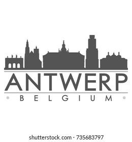 Antwerp Belgium Europe Skyline Silhouette Design City Vector Art Famous Buildings