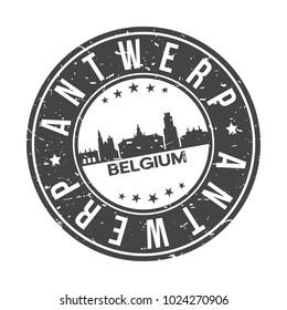 Antwerp Belgium Round Stamp Icon Skyline City