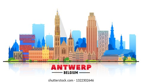 Antwerp (Belgium) skyline with panorama in white background. Vector Illustration. Business travel and tourism concept with modern buildings. Image for presentation, banner, web site.