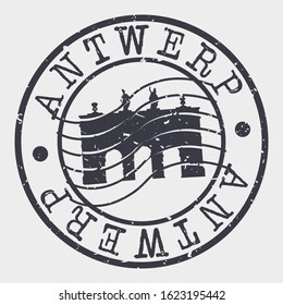 Antwerp Belgium Stamp Postal. Silhouette Seal. Passport Round Design. Vector Icon. Design Retro Travel. National Symbol.
