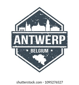 Antwerp Belgium Travel Stamp Icon Skyline City Design Tourism
