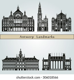 Antwerp landmarks and monuments isolated on blue background in editable vector file