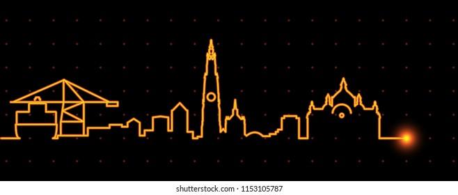 Antwerp Light Streak Skyline