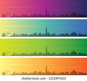 Antwerp Multiple Color Gradient Skyline Banner