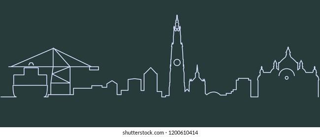 Antwerp Single Line Skyline