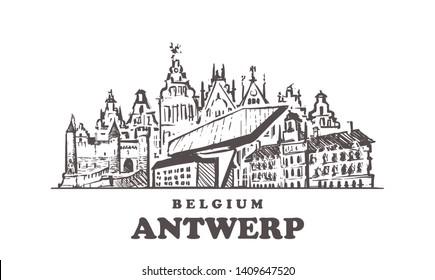 Antwerp sketch skyline. Antwerp, Belgium hand drawn vector illustration. Isolated on white background.