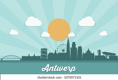 Antwerp skyline - Belgium - vector illustration