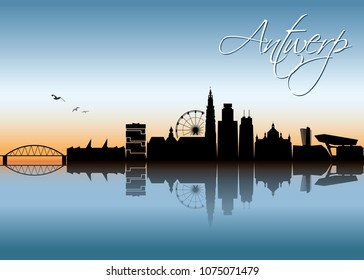 Antwerp skyline - Belgium - vector illustration