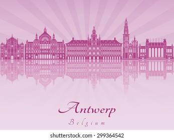 Antwerp skyline in purple radiant orchid in editable vector file