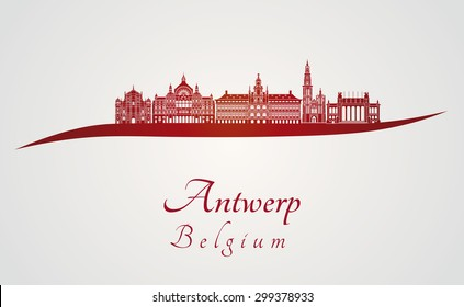 Antwerp skyline in red and gray background in editable vector file