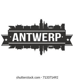 Antwerp Skyline Silhouette City Vector Design Art