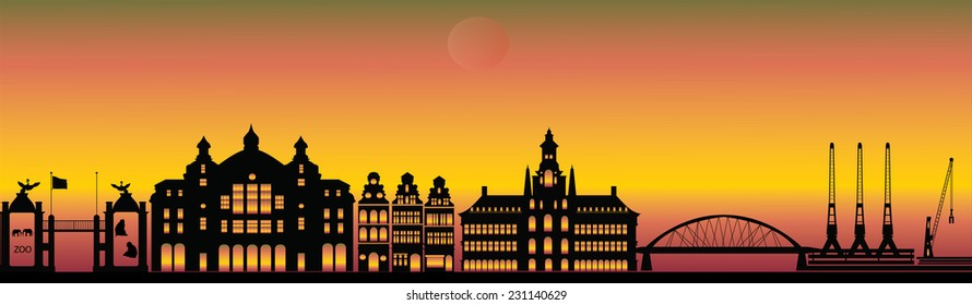 antwerp skyline with station zoo and industry evening