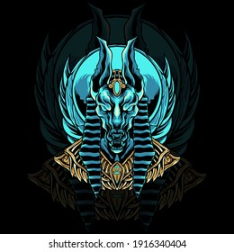 Anubis egypt head mascot logo illustration for your merchandise or business
