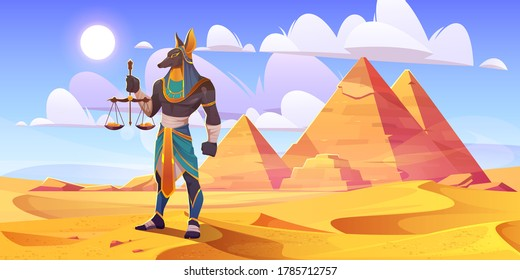 Anubis Egyptian god, ancient Egypt deity with human body and jackal head wearing royal pharaoh royal clothes holding scales with golden coins stand in desert with pyramids, Cartoon vector illustration