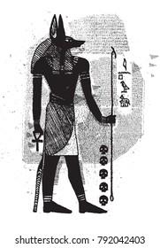 Anubis Egyptian God Line Vintage Drawing