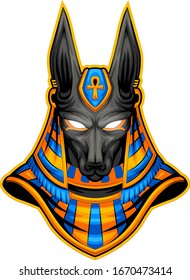 anubis esport logo with a serious look, cool charm and super wow
