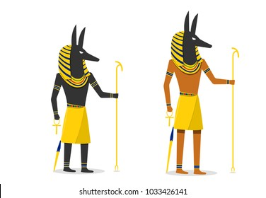 Anubis in flat vector design isolated on white