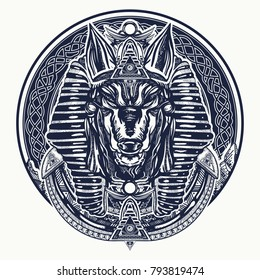 Anubis, god of war, Golden Mask of the Pharaoh, symbol of next world, kingdom of dead tattoo and t-shirt design