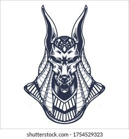 anubis hand drawn line art illustration