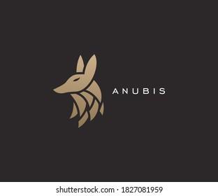 Anubis head logo design template vector illustration