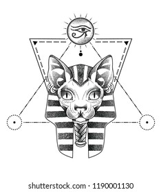 anubis and horus eye in stippling art over sacred geometry