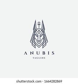 Anubis logo with line style design template vector hipster retro vintage label illustration