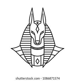anubis logo vector line art outline monoline illustration